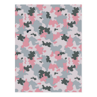 Pink and Grey Camouflage Postcard