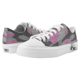 Pink and Grey Camouflage Printed Shoes