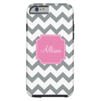 Pink and Grey Chevron Tough iPhone 6 Case