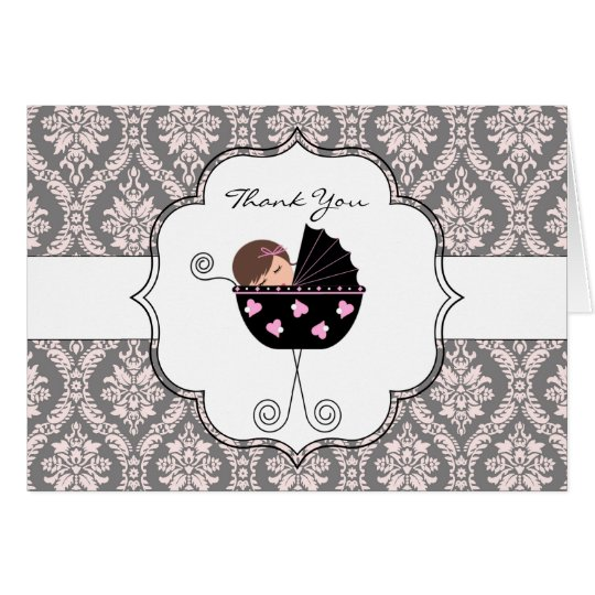 Pink and Grey Damask Baby Thank You Cards