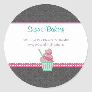 Pink and Grey Damask Bakery Cute Sticker Label