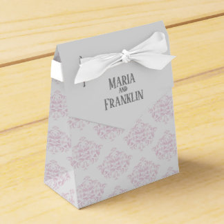 Pink and Grey Damask Tent Favor Box