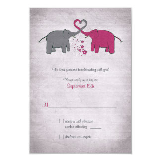 "Pink and Grey Elephant Wedding Reply Card 3.5"" X 5"" Invitation Card"