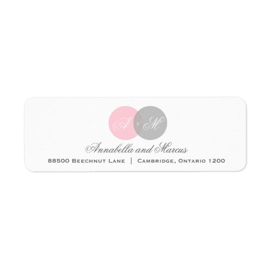 Pink and Grey Entwined Monogram Address Label