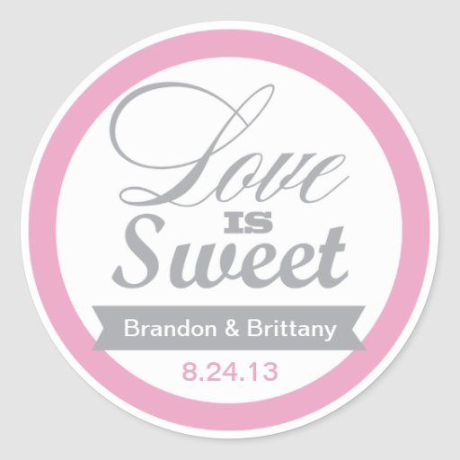Pink and Grey Favor Stickers