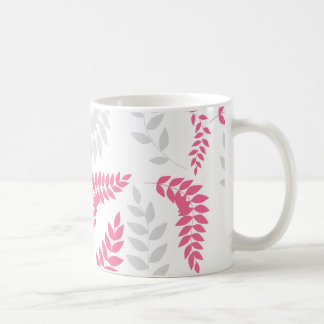 Pink and Grey Ferns Foliage on white Coffee Mug