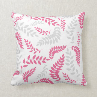 Pink and Grey Ferns Foliage on white Pillows