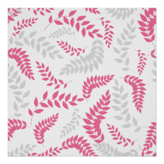 Pink and Grey Ferns Foliage on white Print