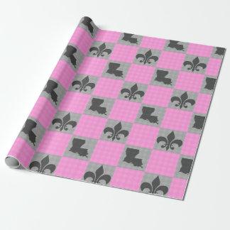 Pink and Grey Fleur De Lis Louisiana Wrap Paper