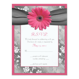 Pink and Grey Floral Damask Wedding Reply Card