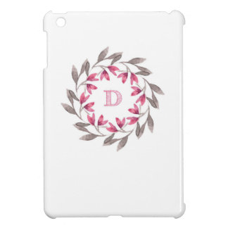 Pink and grey floral wreath design initial D iPad Mini Covers
