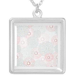 Pink and Grey Flower Burst Design Square Pendant Necklace