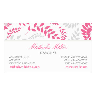 Pink and Grey Foliage Ferns Pattern Business Card Template