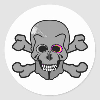 Pink and grey jolly roger round sticker