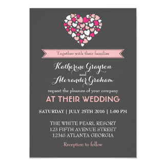 """Pink and Grey Love and Heart Wedding Invitation 5"""" X 7"""" Invitation Card"""