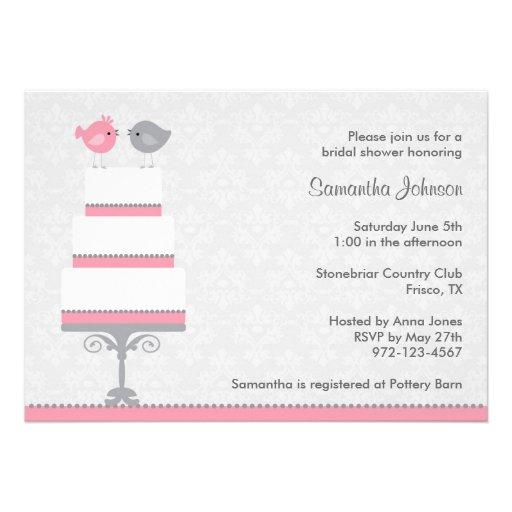 Pink and Grey Love Birds Bridal Shower Invitatio Custom Invite