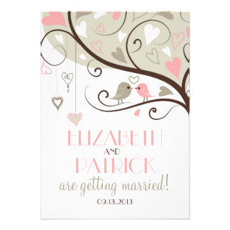 Pink and Grey Lovebirds Wedding Invitation