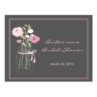 Pink and Grey Mason Jar Bridal Shower Advice Postcard