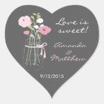 Pink and Grey Mason Jar Wedding Favour Stickers