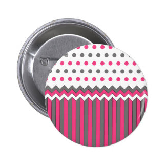 Pink and Grey Pattern Pinback Buttons