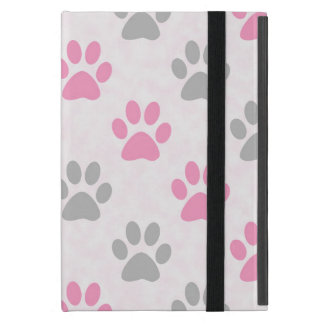 Pink and grey paw prints pattern cover for iPad mini