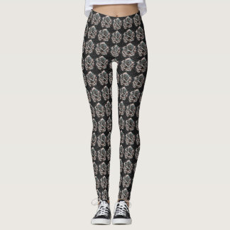 Pink and Grey Pointillist Rose Patterned Leggings