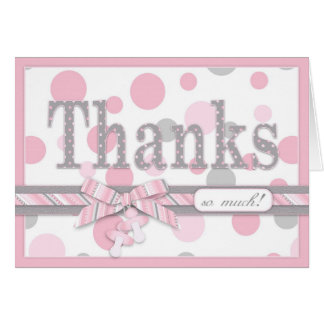 Pink and Grey Polka Dots Thank You Baby Shower Card