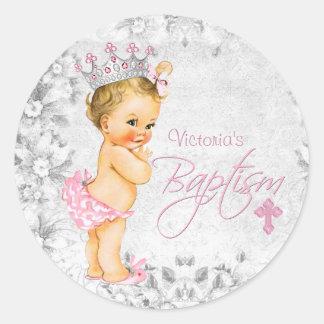 Pink and Grey Princess Baptism Classic Round Sticker