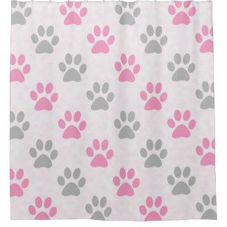 Pink and grey puppy paw prints shower curtain