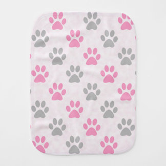 Pink and grey puppy paws pattern burp cloth