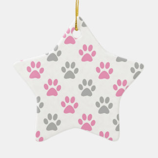 Pink and grey puppy paws pattern ceramic ornament