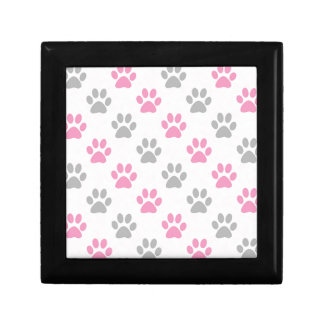 Pink and grey puppy paws pattern gift box