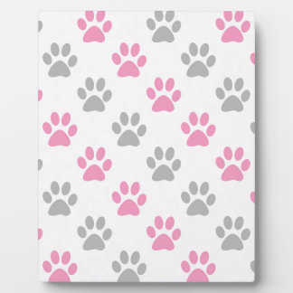 Pink and grey puppy paws pattern plaque