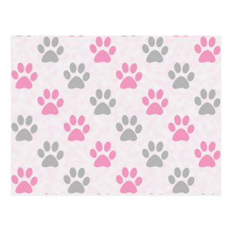 Pink and grey puppy paws pattern postcard
