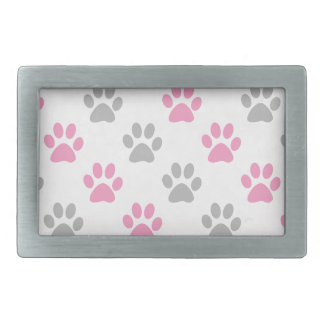 Pink and grey puppy paws pattern rectangular belt buckle