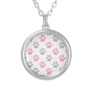 Pink and grey puppy paws pattern silver plated necklace