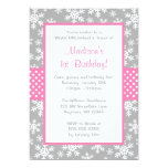 Pink and Grey Snowflakes Winter Onederland Invites
