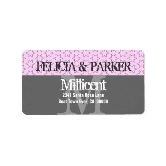 Pink and Grey Stars Wedding Monogram E257 Address Label