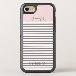 pink and grey stripes monogram OtterBox symmetry iPhone 8/7 case