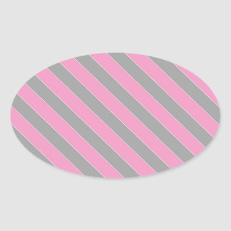 Pink and grey stripes pattern oval sticker