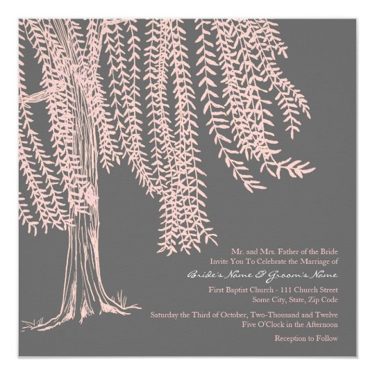 Pink and Grey Willow Tree Wedding Invitation