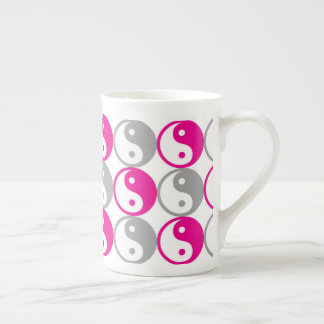 Pink and grey yin yang pattern tea cup