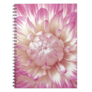 Pink and Ivory Dahlia Custom Gift Item Spiral Note Book