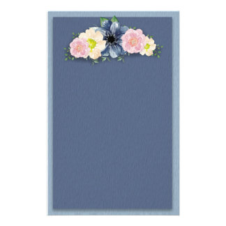 Pink and Ivory Watercolor Floral Bouquet on Blue Stationery