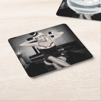 Pink and Lace Top Hat Dancer Pin Up Girl Square Paper Coaster