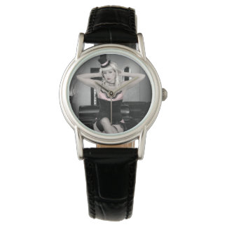 Pink and Lace Top Hat Dancer Pin Up Girl Watch