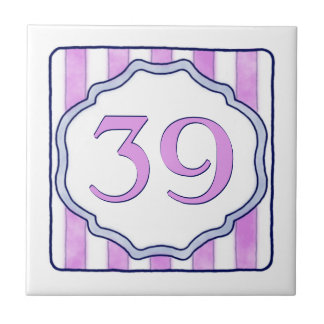 Pink and Lavender Big House Number Small Square Tile