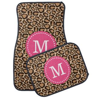 Pink and Leopard Print Custom Monogram Floor Mat