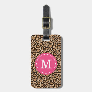 Pink and Leopard Print Custom Monogram Luggage Tag