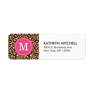 Pink and Leopard Print Custom Monogram Return Address Label